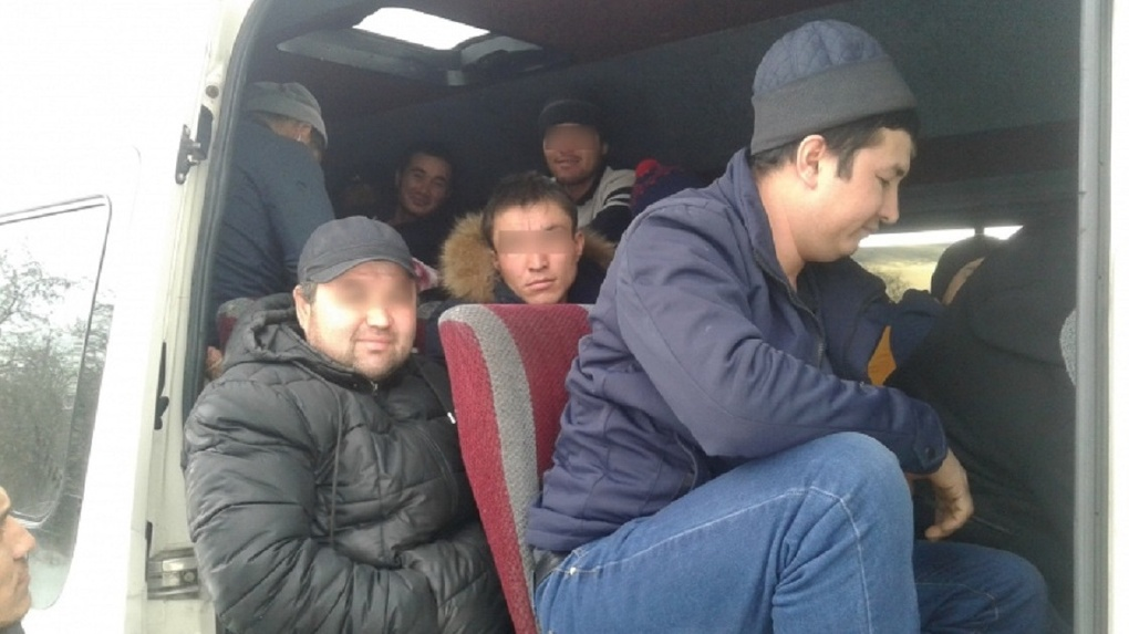Омские госавтоинспекторы остановили маршрутку с мигрантами