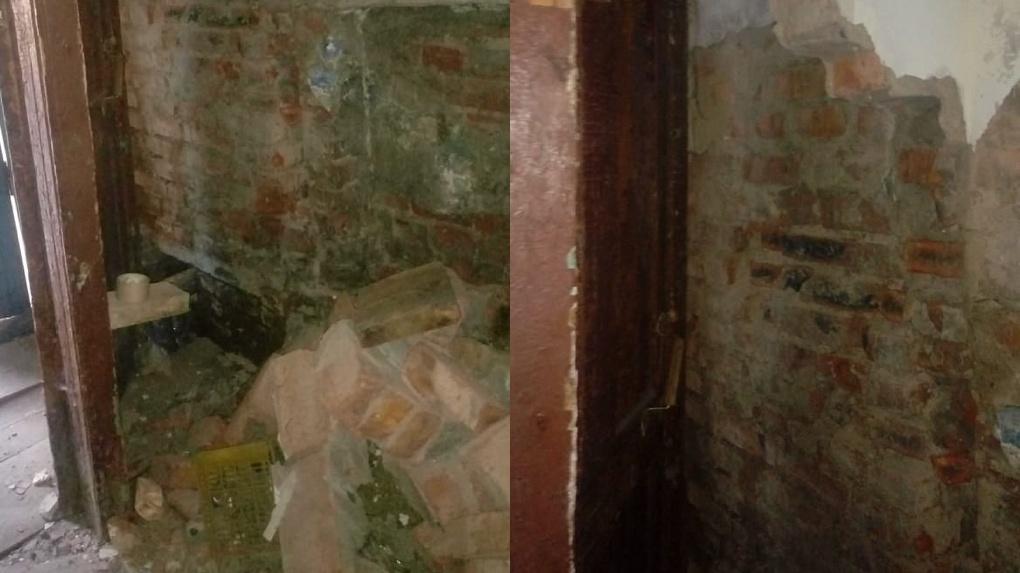 В Омске начали восстанавливать рухнувшую стену пятиэтажки в Октябрьском округе