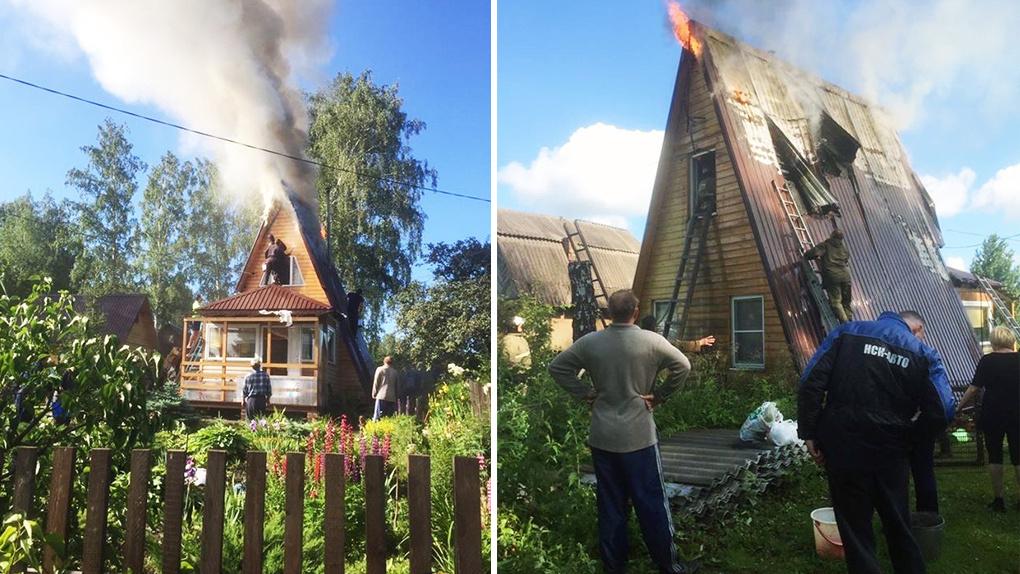Три десятка новосибирских дачников спасали свои дома от пожара