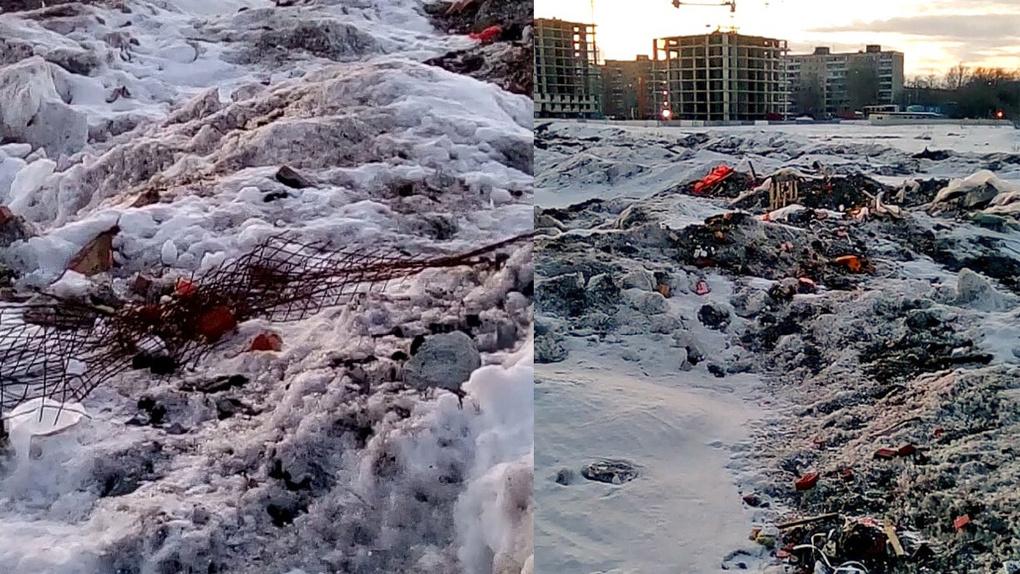 Это ужас — арматура, кирпичи: свалка строительного мусора оттаяла под Hовосибирском
