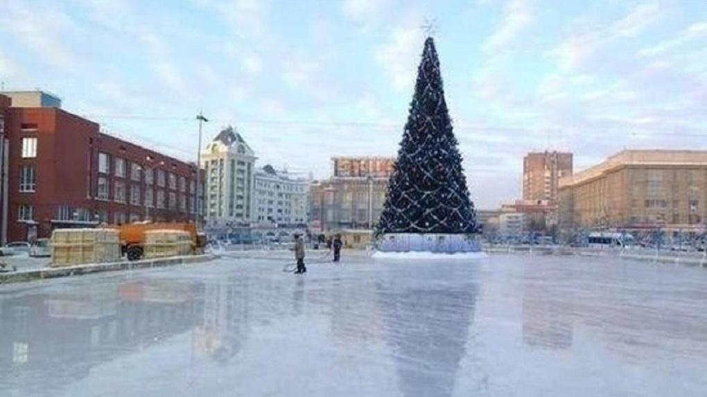 В Новосибирске начали установку главной новогодней ёлки