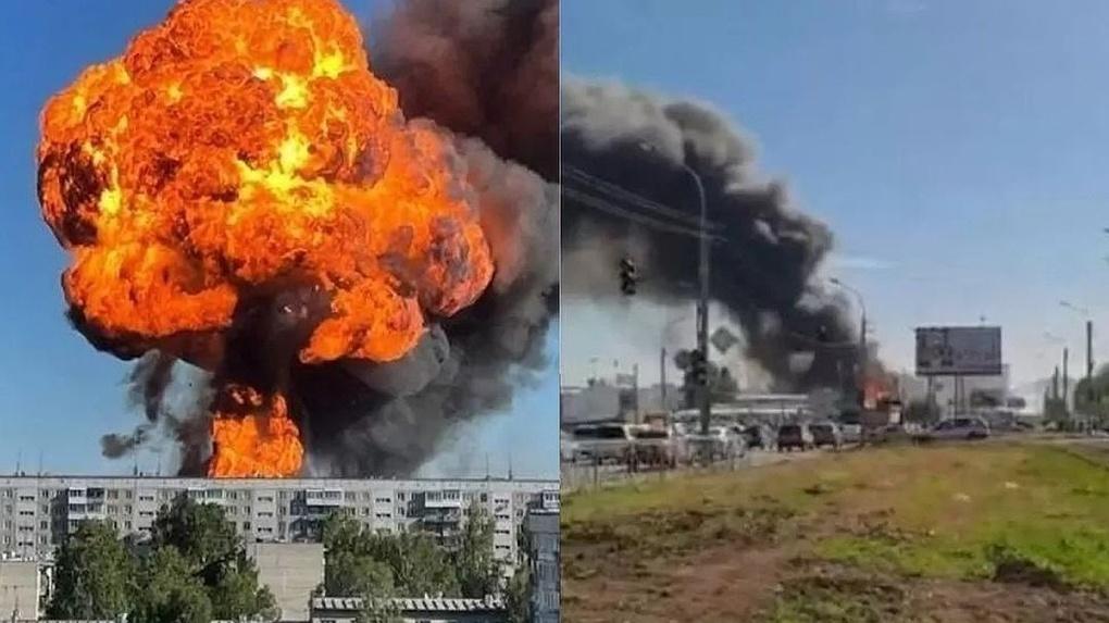 Шок жителей и огромное пламя: взрыв на новосибирской заправке всколыхнул соцсети (видеофакты)