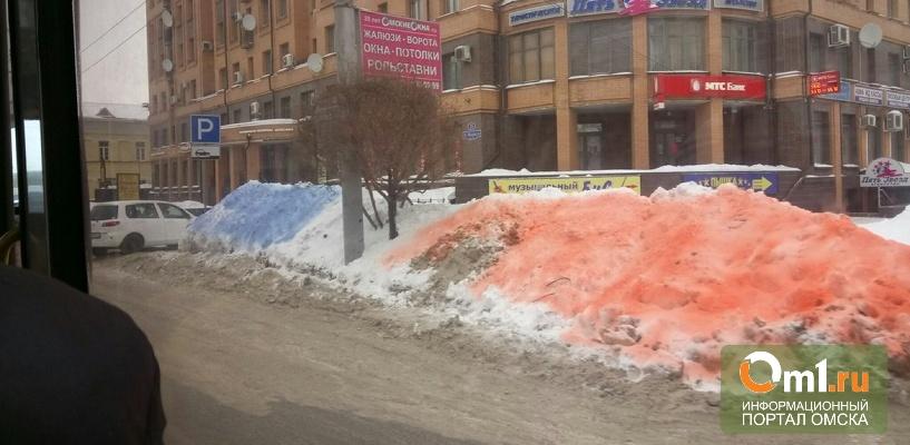 Цветные сугробы в Омске оказались рекламной акцией