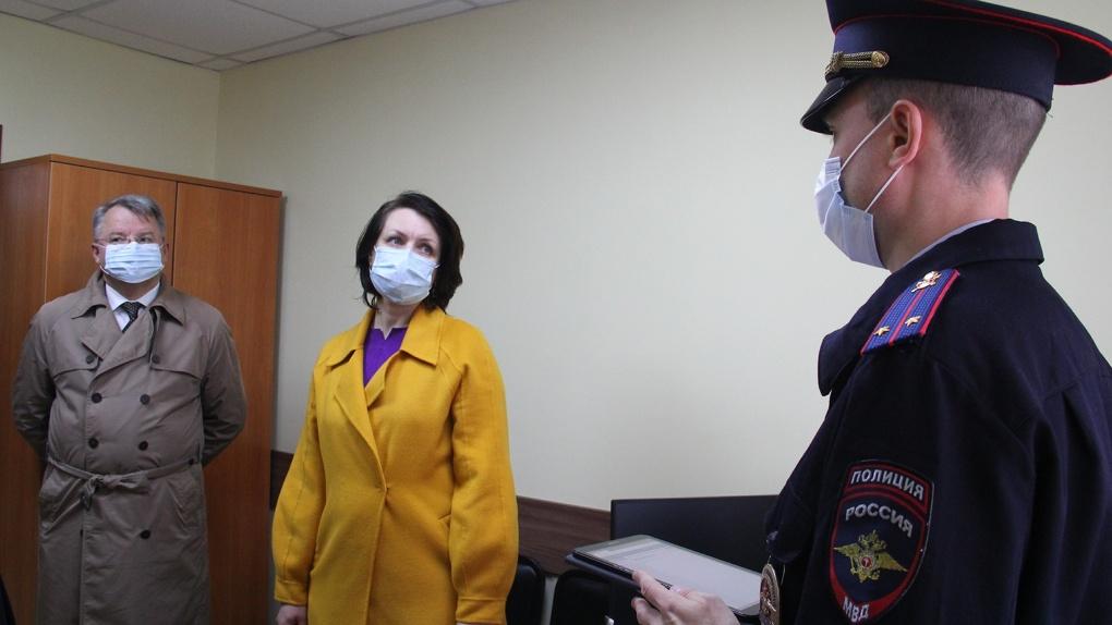 Мэр Оксана Фадина побывала в полицейском участке, открытом в новом микрорайоне Омска