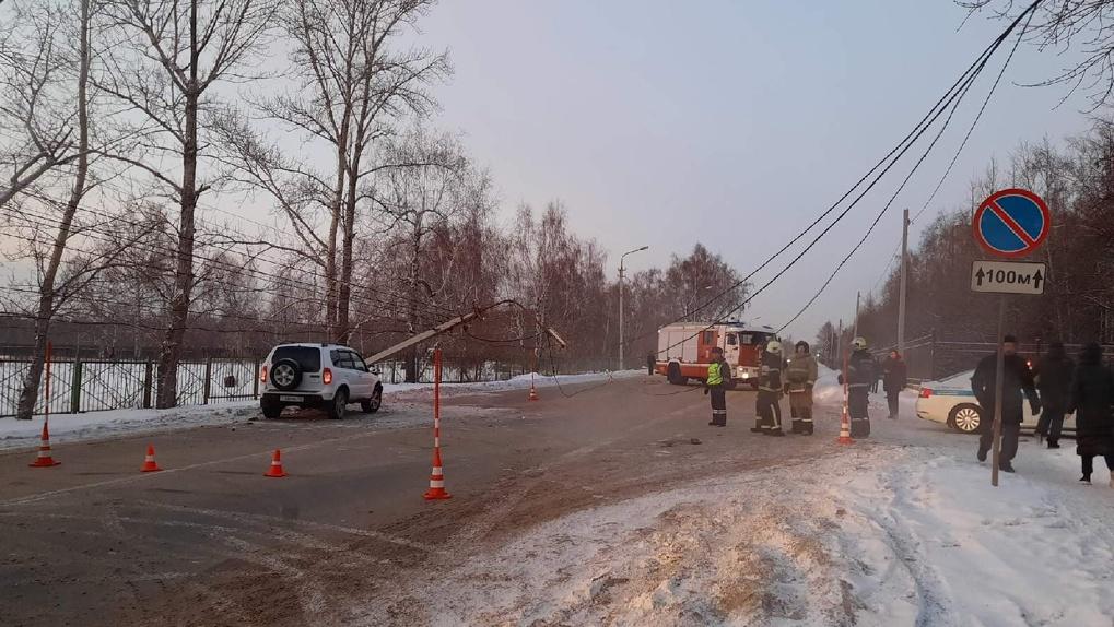 В Омске на ехавшую по дороге машину внезапно упал фонарный столб