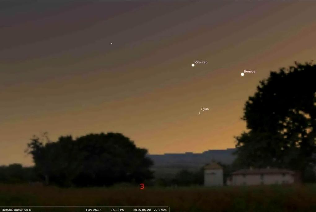 Омичи смогут увидеть в небе треугольник из Луны, Венеры и Юпитера
