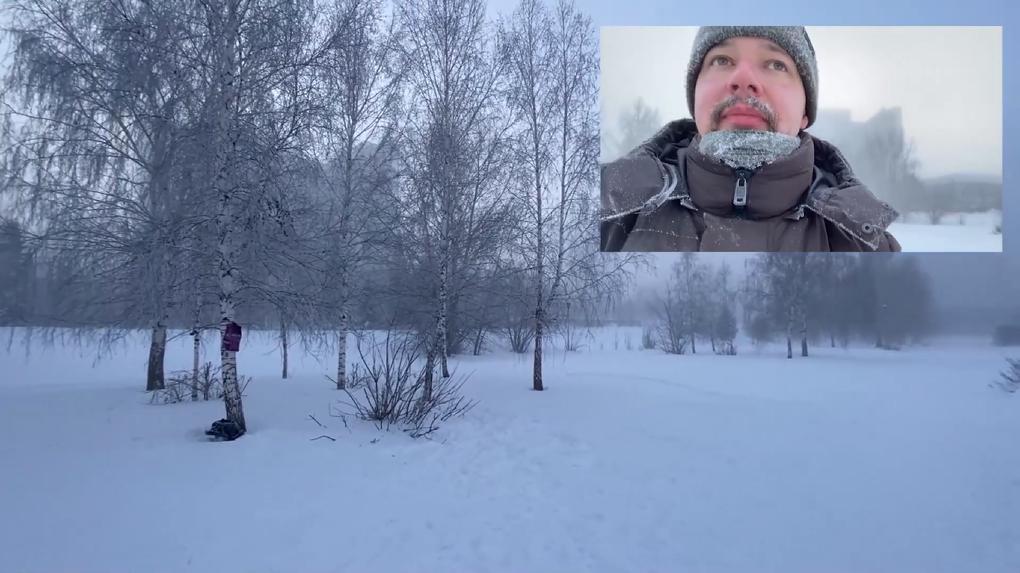 Протестующий новосибирец устроил лыжный забег в 40-градусный мороз