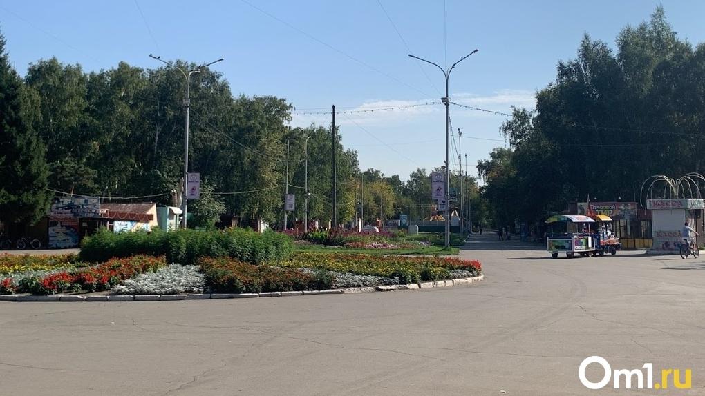 В центре Омска по дороге проехал детский паровозик