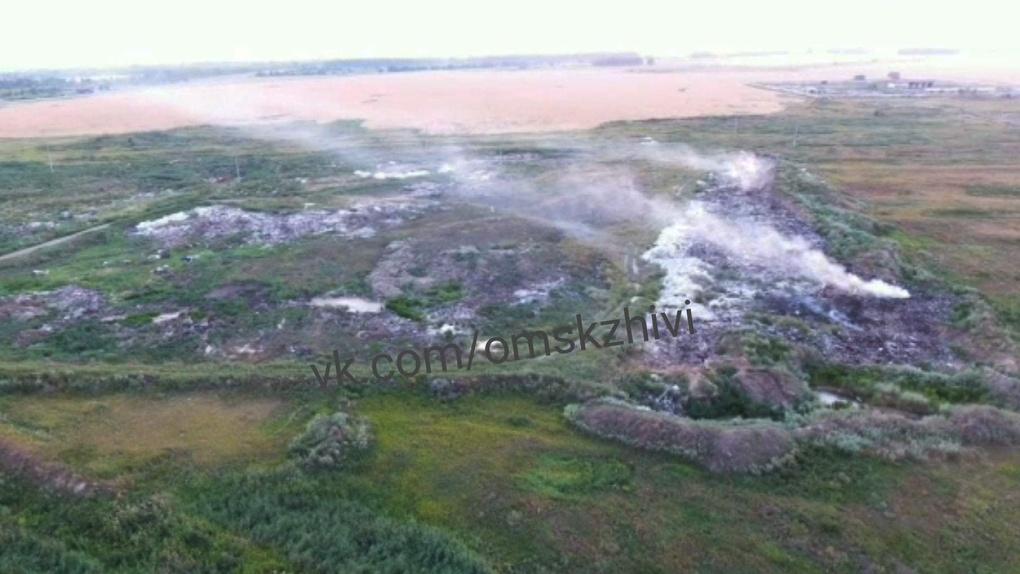 Ещё одна омская свалка загорелась и начала распространять ядовитые вещества