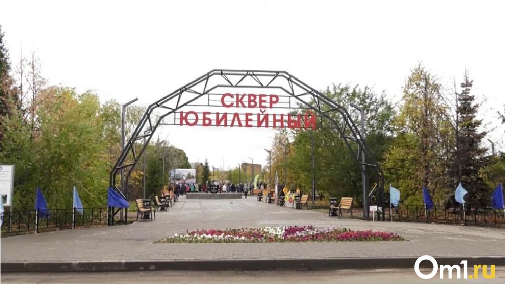 Внедорожник снёс опору освещения в омском сквере, на реконструкцию которого потратили 30 млн рублей