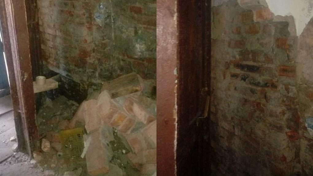 В Омске внезапно рухнула кирпичная стена пятиэтажки