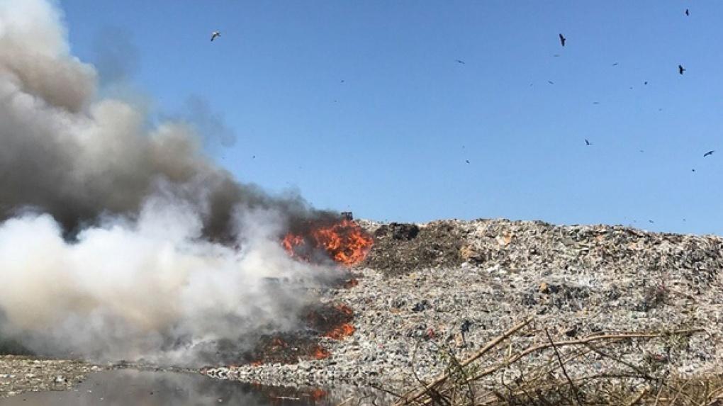 Экология ухудшается: в Новосибирске снова загорелась свалка возле Хилокского рынка