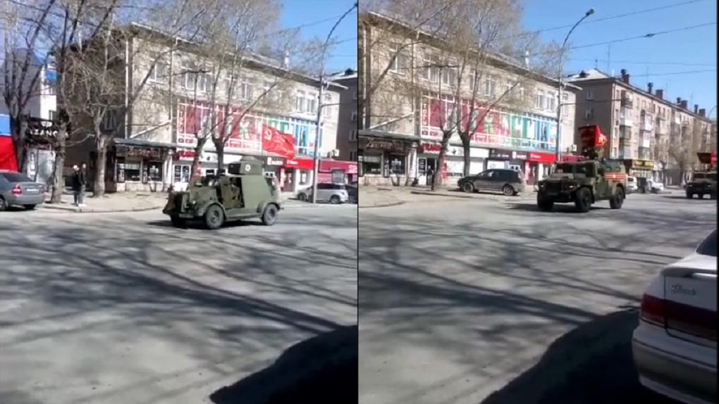 Колонну военной техники заметили новосибирцы на проспекте Карла Маркса