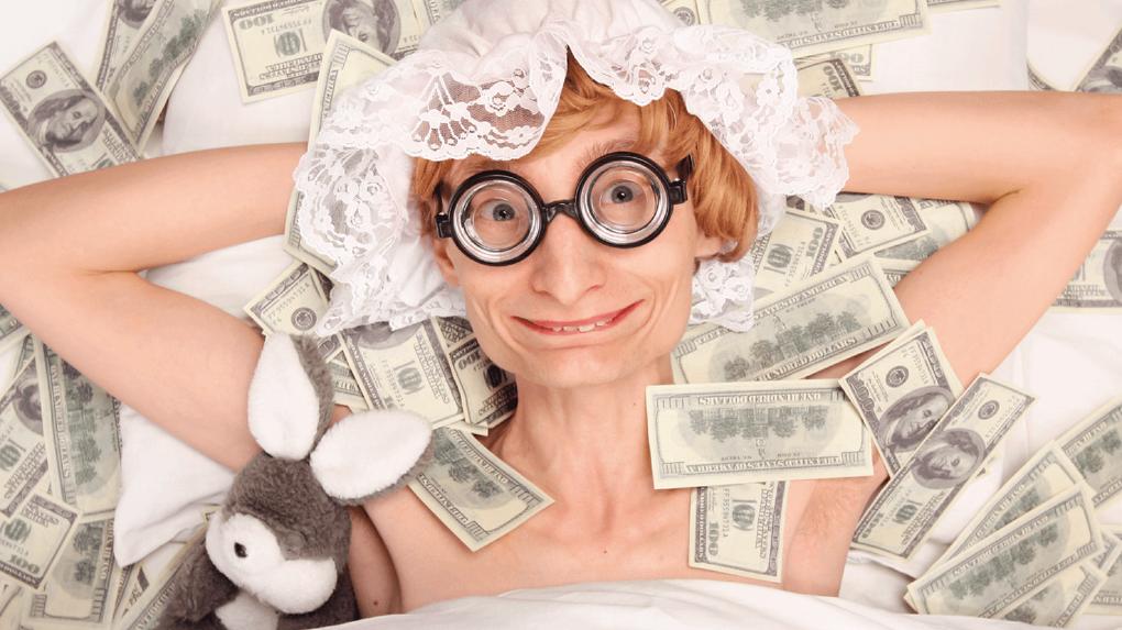 Новые анекдоты, прикольная картинка девушка с деньгами