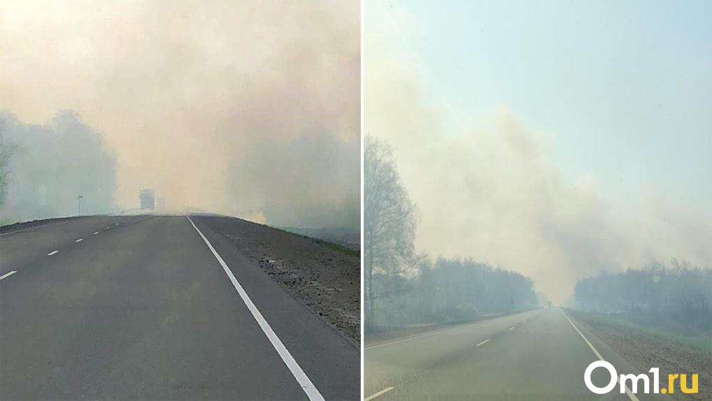 Едкий дым и пламя повсюду. В Каргатском районе Новосибирской области бушуют ландшафтные пожары