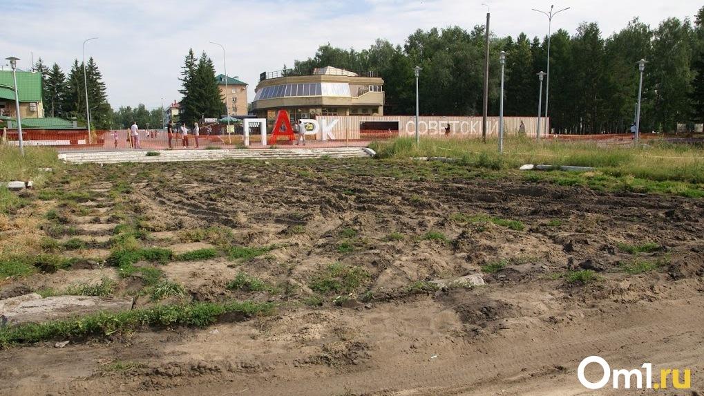 Разворотили и оставили. В Омске оштрафовали подрядчика, ремонтирующего Советский парк