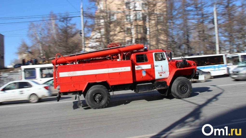 В Омске неподалеку от набережной загорелись гаражи. Фото