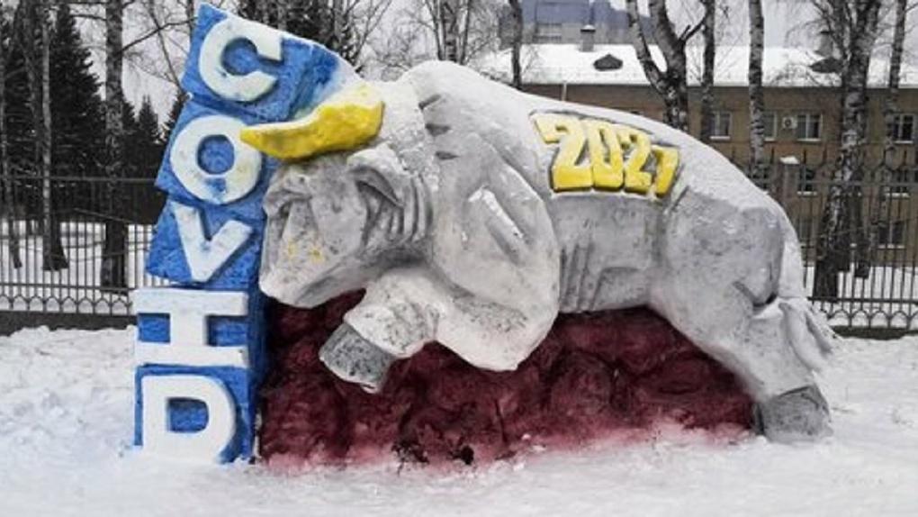 Военные украсили новосибирский Академгородок уникальными снежными скульптурами