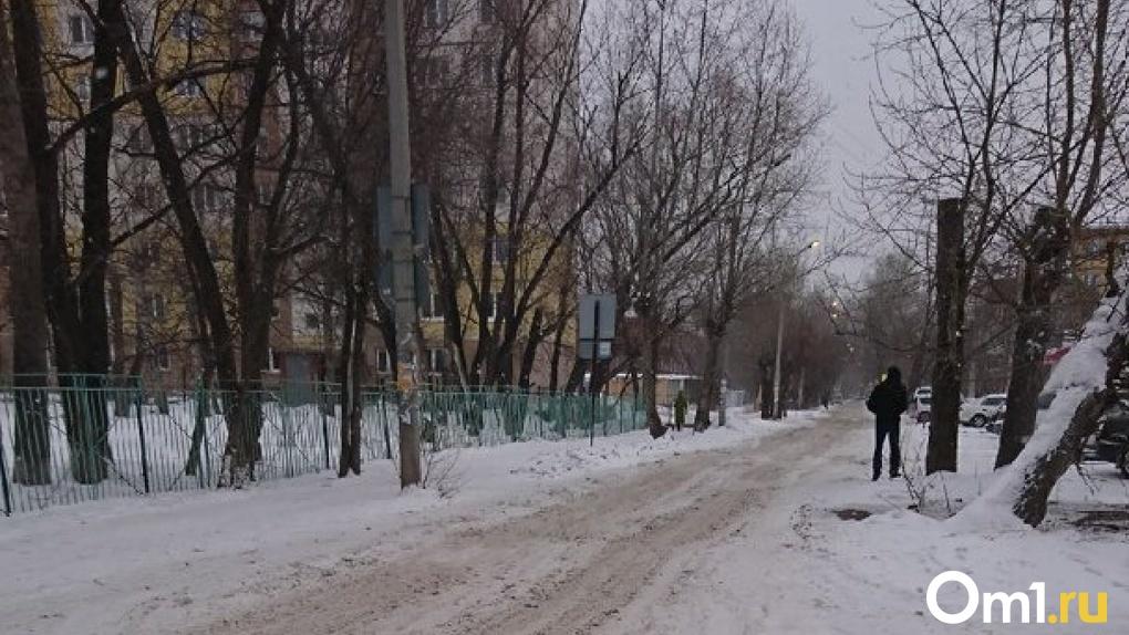 Машины едут по тротуару. Омичи пытаются добиться чистки снега около школ и детского сада