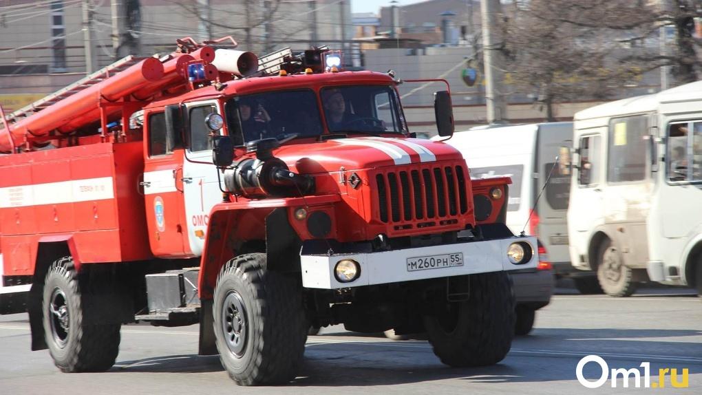 У омского ТЦ вспыхнула ГАЗель (фото пожара)