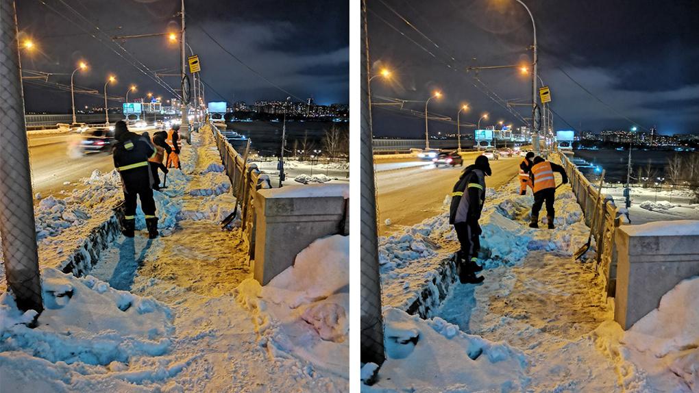 Рабочие, счищающие снег с тротуара Коммунального моста, развеселили новосибирцев