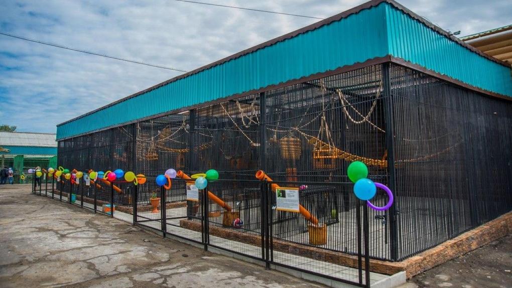 В Большереченском зоопарке под Омском торжественно открыли новый обезьянник