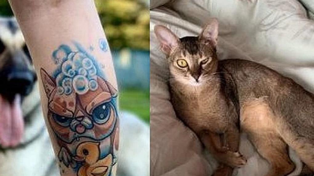 «Мне всё равно на мнение окружающих»: жительница Новосибирска набила тату на ноге в честь любимой кошки