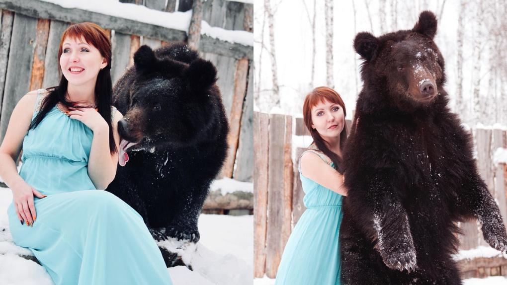 Бесстрашная спортсменка из Новосибирска удивила экстремальной фотосессией с медведем