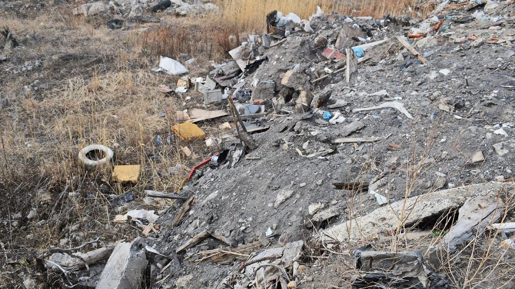 Пользователи соцсети засняли, как экскаватор зарывает мусор на выезде из Омска