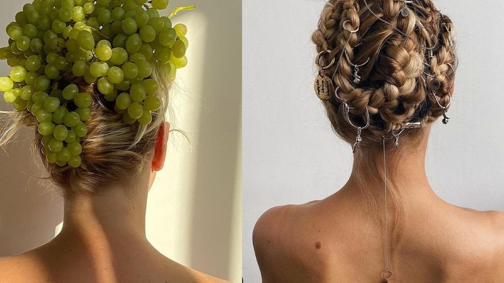 Из еды, гвоздей и стекла: необычные арт-причёски создаёт парикмахер из Новосибирска