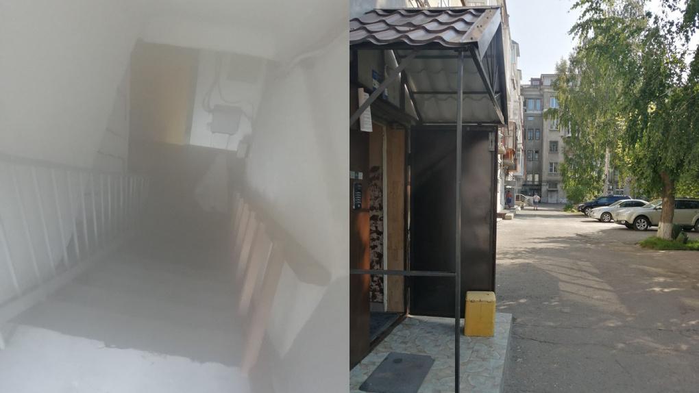 В центре Омска дом и улицу заливает кипятком