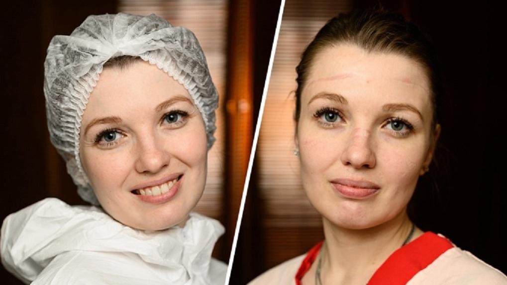Врач новосибирского НИИТО показал, как выглядят медики до и после смены в «красной зоне»