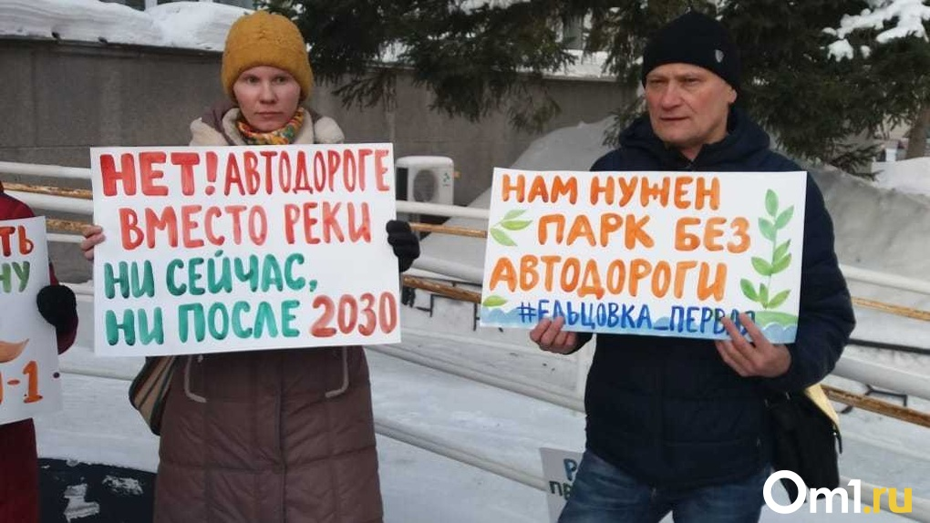 Новосибирцы вышли на пикет против строительства дороги в пойме реки Ельцовка-1