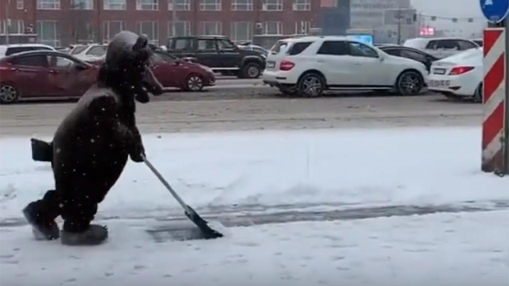 В Новосибирске мишка с лопатой разгребал снег перед памятником Ленину