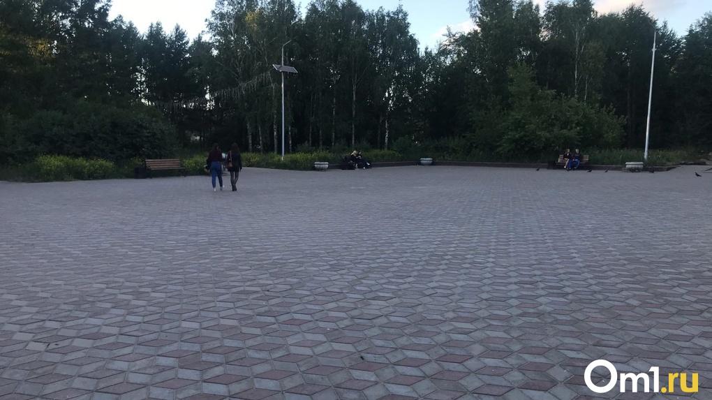 Омская мэрия объяснила странный налет на плитке в сквере Молодоженов